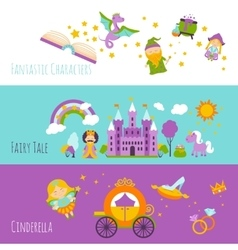 Fairy tale banner set vector