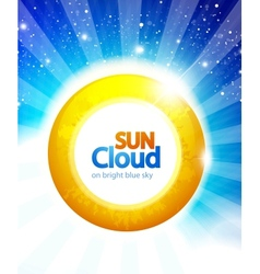 Sun on blue sky background vector