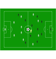 Football pitch with players vector
