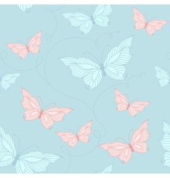 Seamless pattern with elegant butterflies vector