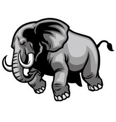 Charging elephant vector