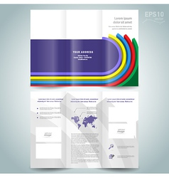 Dimensional colored line brochure design template vector
