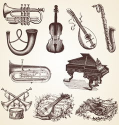 Vintage pack of musical instruments vector