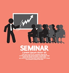 Speaker with audiences in seminar vector