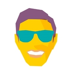 Smiling male face with sunglasses vector
