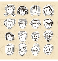 Hand drawn different funny faces doodle avatars vector