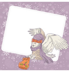 Cute winter christmas card of an owl in a hat vector