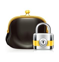 Lock and purse icon vector