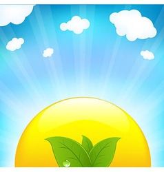 Sun with beams and sprout vector