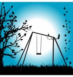 Tree silhouette swing on meadow vector