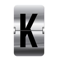 Alphabet silver flipboard letters k vector