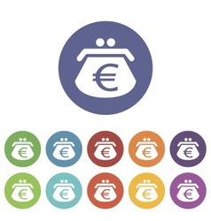 Euro purse flat icon vector