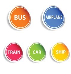 Sticker with transport set color vector