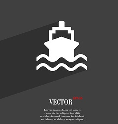 Ship icon symbol flat modern web design with long vector