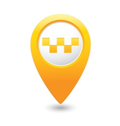 Taxi icon yellow map pointer vector