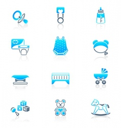 Baby objects icons  marine vector