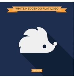 White hedgehog icon into flat logo vector