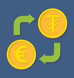 Currency exchange euro and tugrik vector