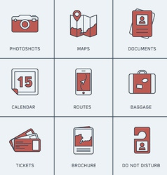 Set of modern thin line icons photoshots maps vector