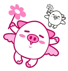 Pig mascot flying to the sky vector