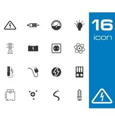 Black education icons set on gray background vector