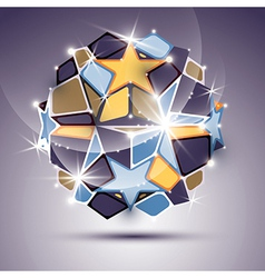 3d twinkle mirror ball with gold stars festive vector