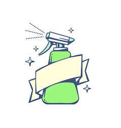 Green spray pistol with ribbon on light b vector