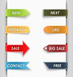 Color set of bent paper web tags vector