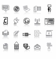 Communication icons grey vector