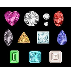 Set of colorful gemstones vector