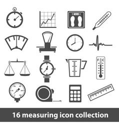 16 measuring icon collection vector