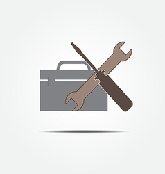 Screwdriver and wrench with tool box vector