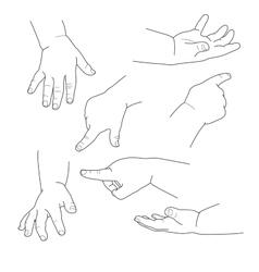 Baby hand different gestures vector