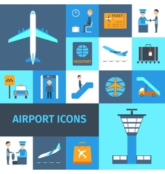 Airport decorative icons set vector