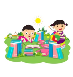 Kids studying book vector