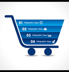 Shopping cart info-graphic design vector