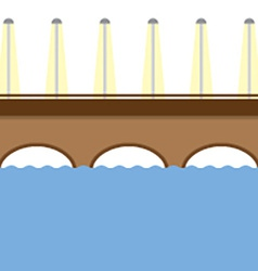 Brown bridge over the river vector