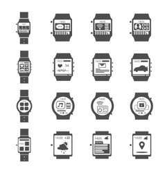Smart watch icon black set vector