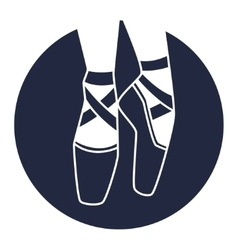 Emblem of dance studio with ballet pointe shoes vector