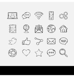 Doodle social network set vector