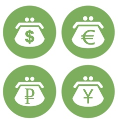 Green purse icons set vector