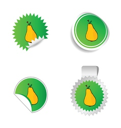 Sticker green color with yellow pear vector
