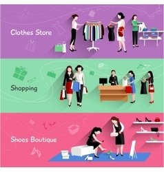 Woman shopping banner set vector