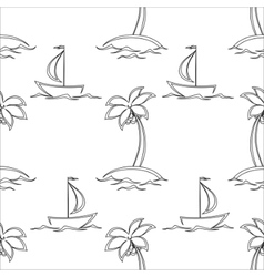 Background islands and ships contours vector