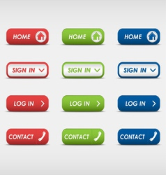 Set of colored rectangular web buttons vector