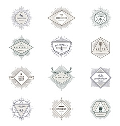 Set of hipster sunburst line signs and emblems vector