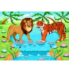 Lion and tiger together in the jungle vector