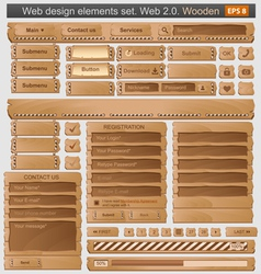 Web design elements set wooden vector