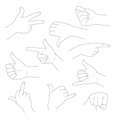 Hands in different gestures and interpretations vector