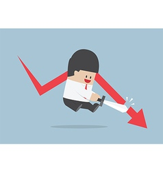 Businessman cut the falling graph stock market f vector